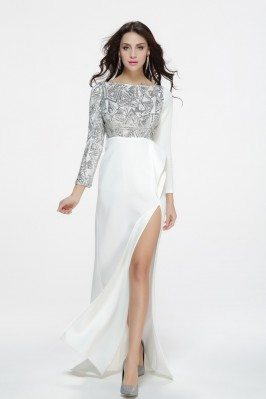Sexy White And Silver Sequins Slit Prom Dress