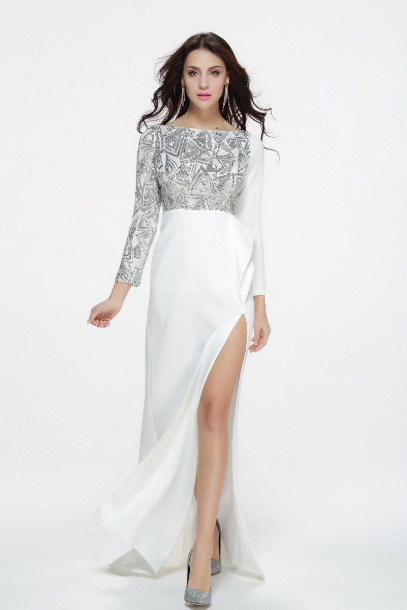 Berühmt Silver And White Prom Dresses Ideen - Brautkleider Ideen ...
