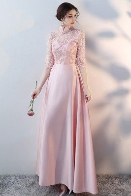 Pink Satin With Sheer Half...