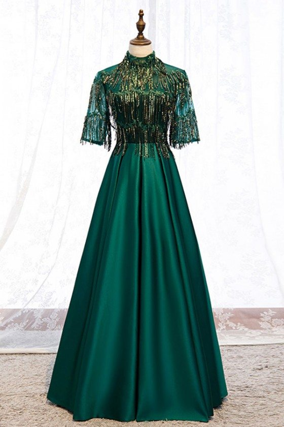 Green Formal Long Evening Dress Satin With Bling Sequins Sleeves