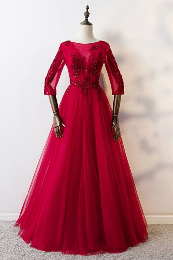 Burgundy Long Red Aline Prom Formal Dress With Sheer Sleeves