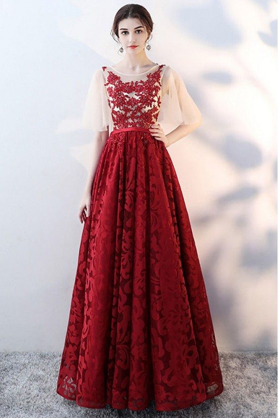 Gorgeous Burgundy Red Lace Prom Party Dress With Tulle Sleeves