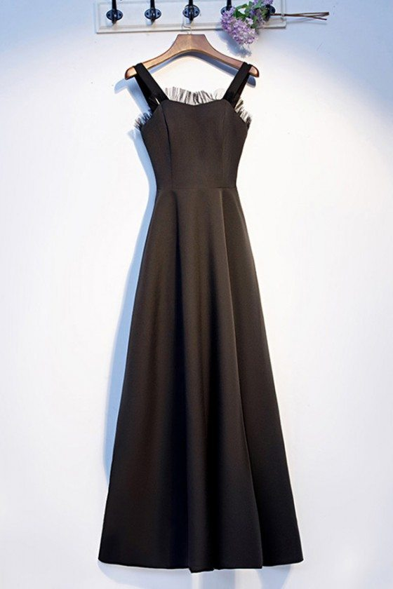 Simple Long Black Aline Party Dress With Straps