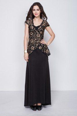 Black Lace Cap Sleeve Long Party Dress