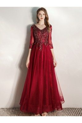 Burgundy Long Formal Party...