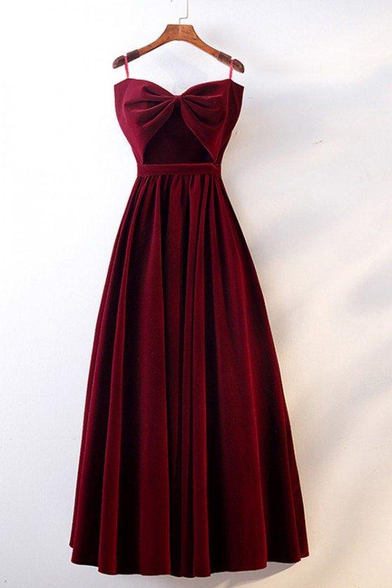 Cute Big Bow Burgundy Long Velvet Party Dress Strapless