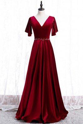 Elegant Long Velvet Evening...