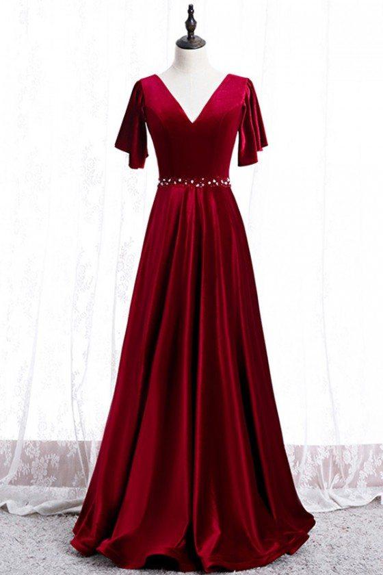 Elegant Long Velvet Evening Dress Vneck With Sleeves
