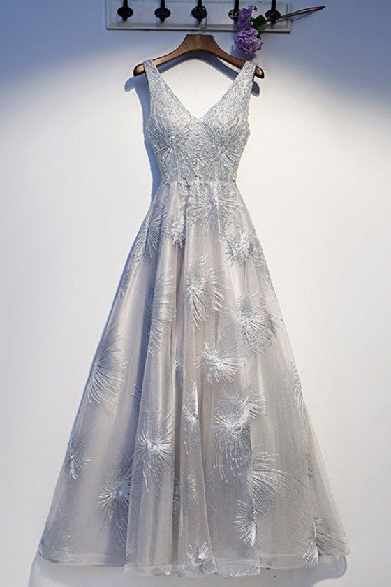 Silver Grey Aline Beaded Lace Prom Dress Vneck