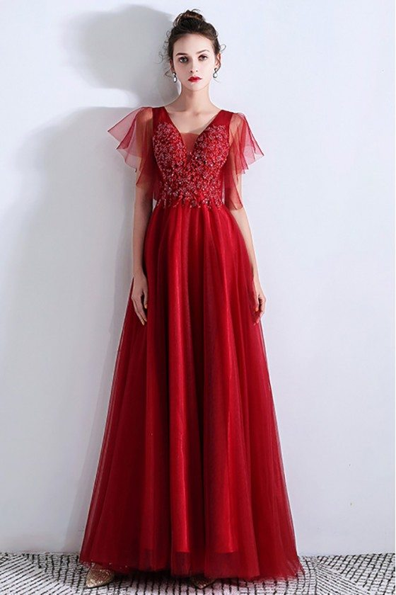 Aline Long Tulle Red Prom Dress Burgundy With Puffy Sleeves