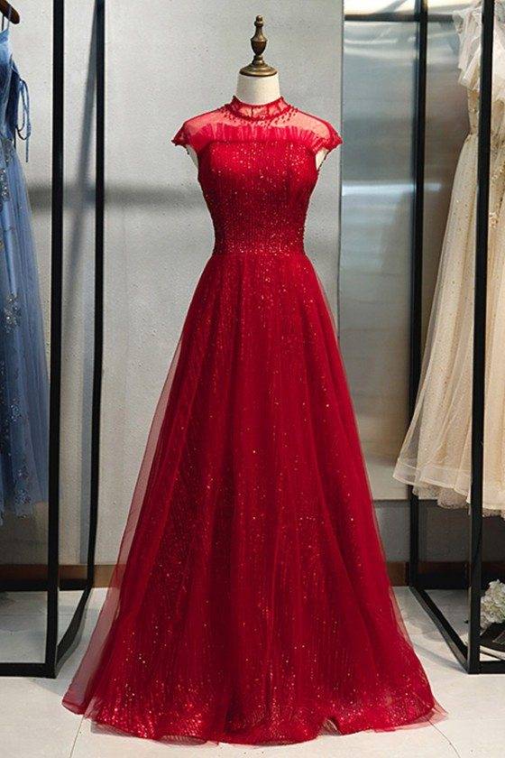 Illusion Beaded High Neck Long Formal Dress With Sparkly Sequins