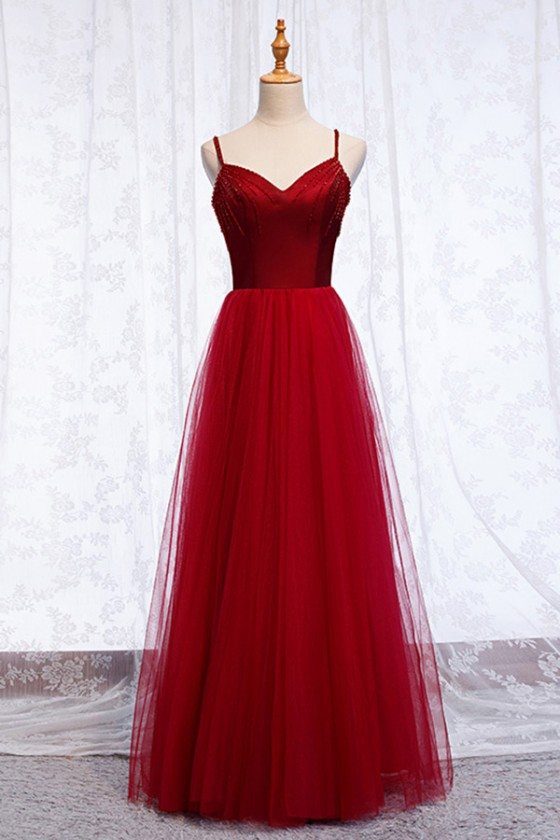 Burgundy Long Red Aline Tulle Party Dress With Spaghetti Straps