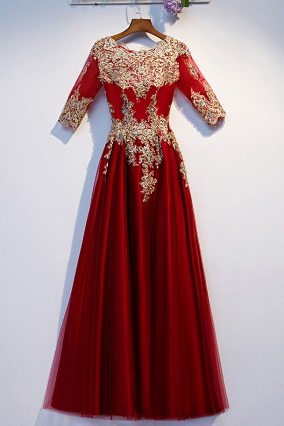 Formal Long Burgundy And Gold Embroidery Party Dress With Half Sleeves