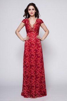 Burgundy Lace Cap Sleeve Formal Dress