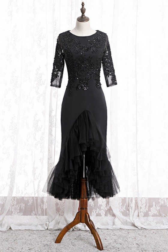 Fitted Mermaid Black Formal Dress With Beaded Lace