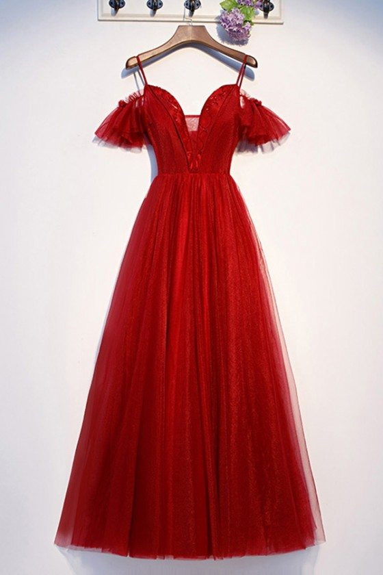 Long Red Aline Flowy Tulle Prom Dress With Vneck