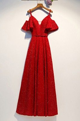 Red Aline Long Party Dress...