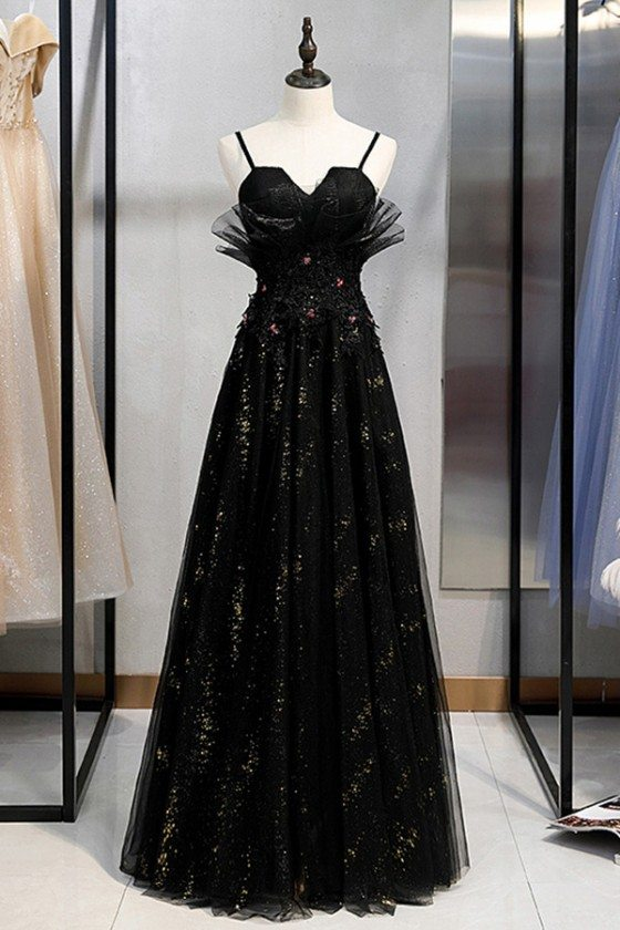 Long Black Beaded Tulle Party Dress With Straps