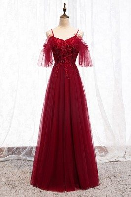 Beaded Long Tulle Burgundy...