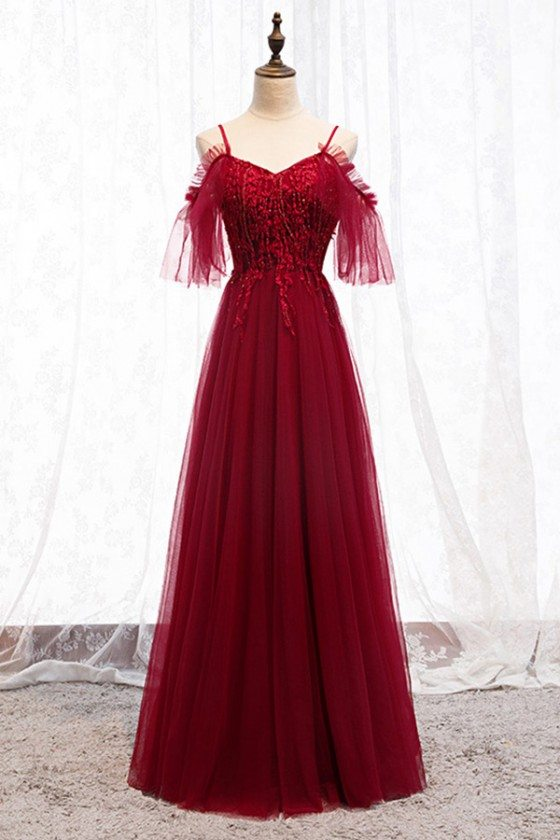 Beaded Long Tulle Burgundy Prom Party Dress
