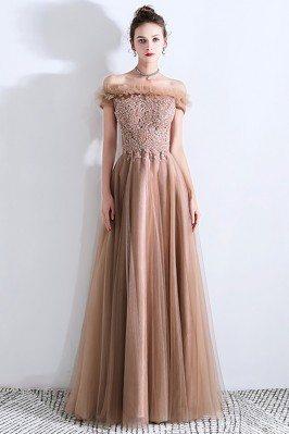 Khaki Brown Tulle Elegant...