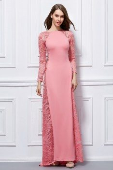 Fitted Long Sleeve See-through Formal Dress