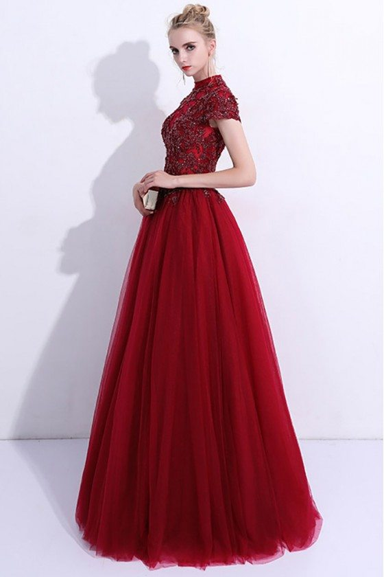 Unique Burgundy High Neck Long Prom Dress Tulle With Cap Sleeves