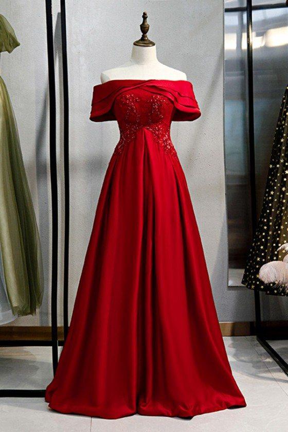 Formal Long Burgundy Satin Evening Dress With Off Shoulder