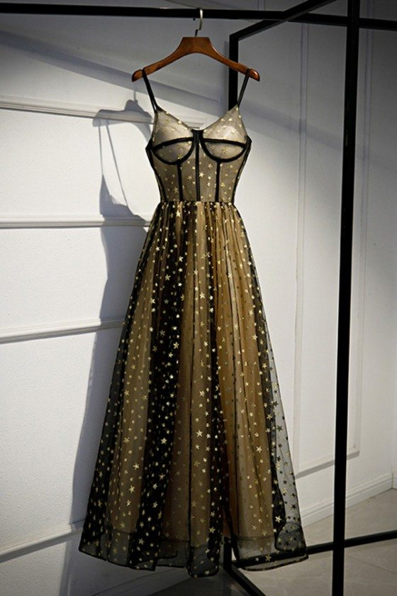 Bling Stars Corset Top Black Tulle Prom Dress With Straps