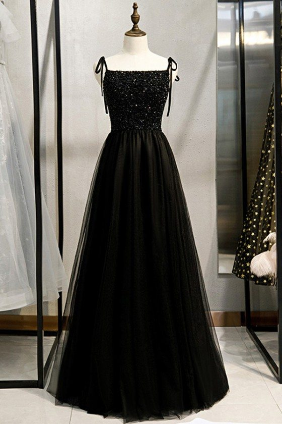 Beaded Top Long Black Prom Dress With Straps