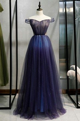 Navy Blue Long Tulle Prom...