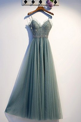 Dusty Long Green Tulle...