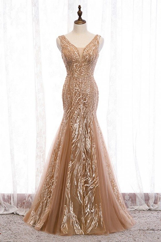 Mermaid Long Champagne Tulle Prom Dress With Sparkly Sequins