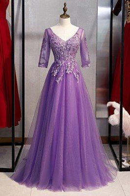 Formal Long Tulle Purple...