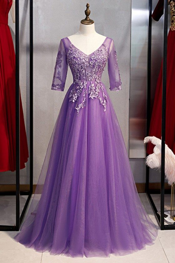 Formal Long Tulle Purple Prom Dress With Beaded Appliques