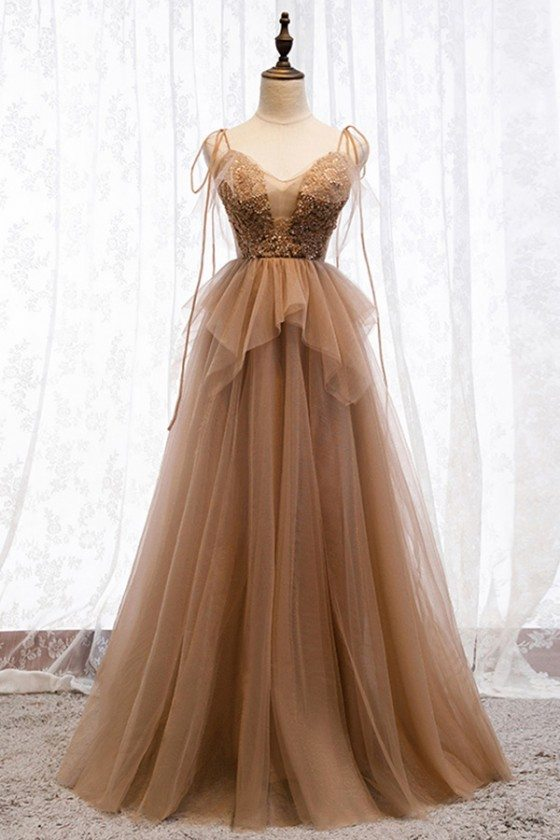 Flowy Brown Long Tulle Prom Dress With Sequins Top
