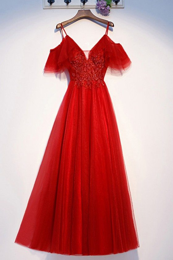 Long Red Tulle Sleeve Cute Party Dress With Straps