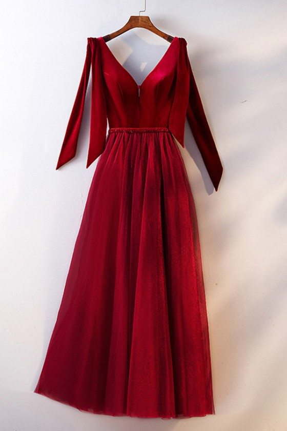 Special Velvet With Tulle Burgundy Long Party Dress With Straps