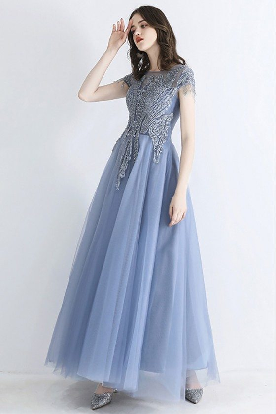 Luxe Dusty Blue Beaded Top Tulle Prom Dress With Illusion Cap Sleeves