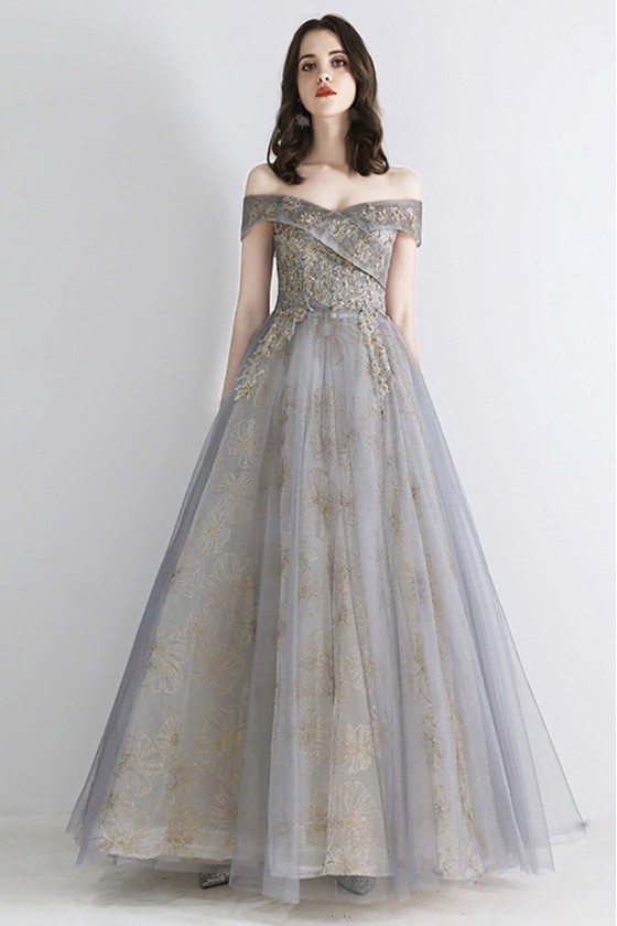 Best Grey Tulle Long Prom Dress Gorgeous With Off Shoulder Embroidery