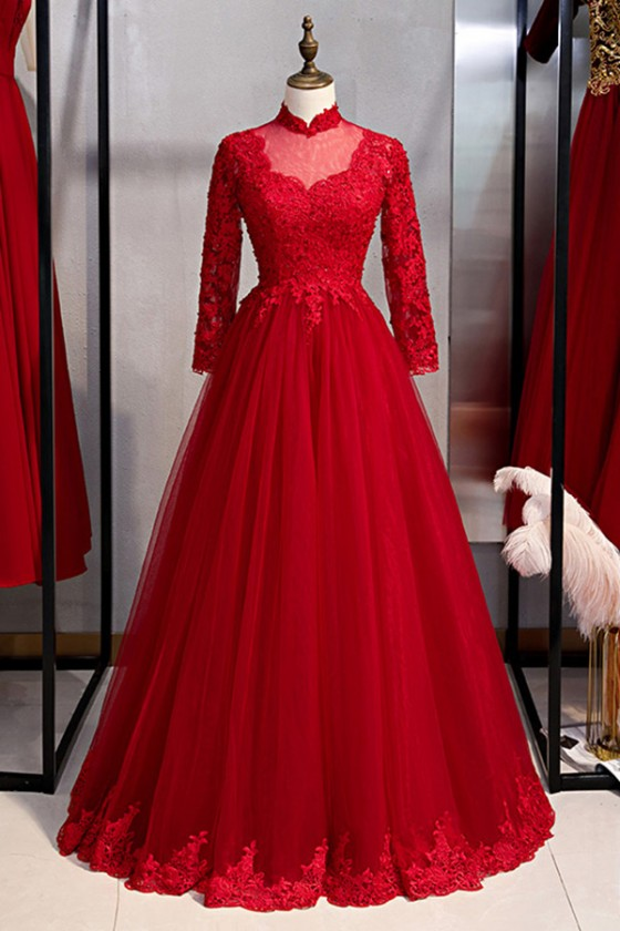 Burgundy Long Tulle Formal Dress With Long Lace Sleeves