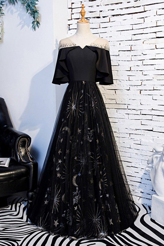 Long Black Special Patterns Prom Party Dress With Ruffle Sleeves