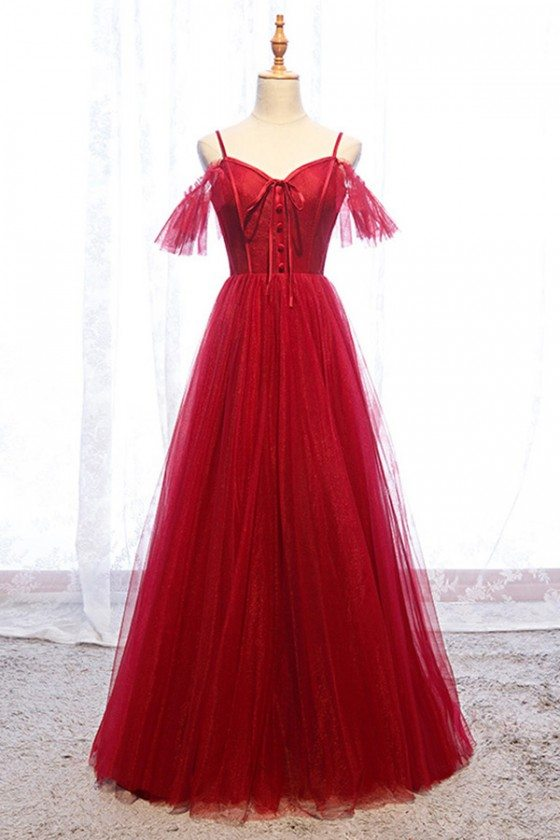 Cute Long Tulle Burgundy Formal Dress With Straps