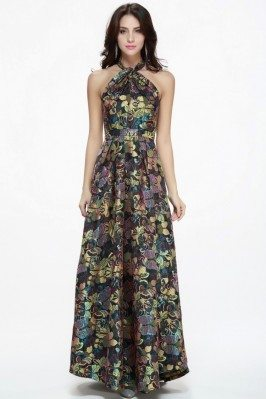 Vintage Long Halter Embroidery Dress