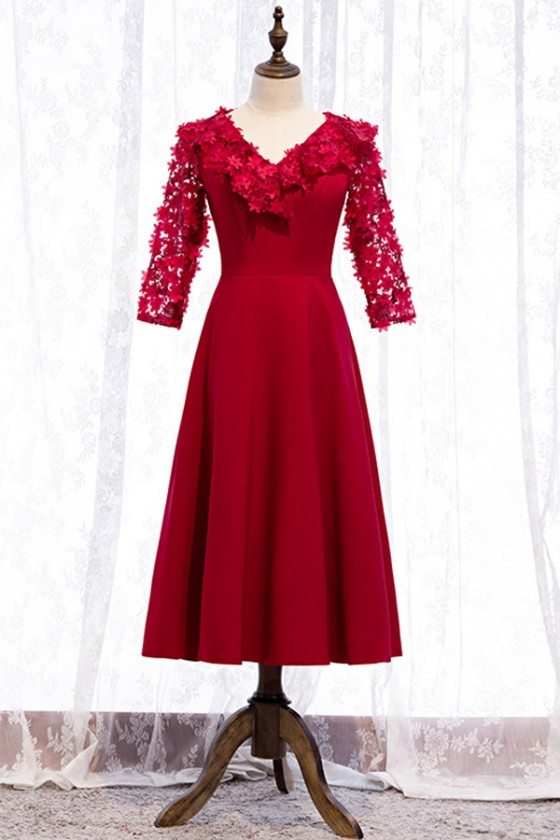 Vneck Flowers Tea Length Party Dress With Sleeves