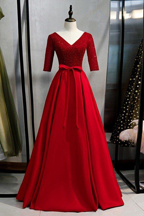 Modest Long Vneck Sequined Formal Dress With Sash