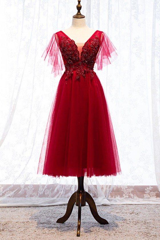 Beaded Lace Vneck Burgundy Tulle Party Dress Midi Length