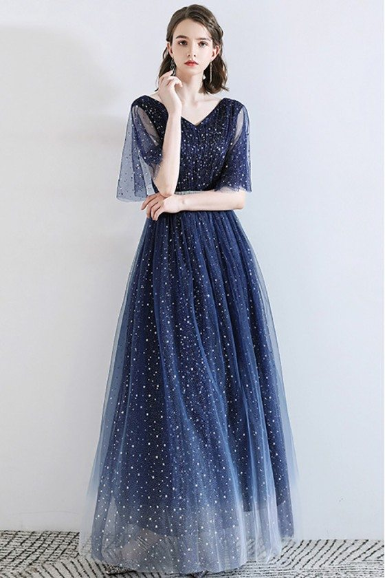 Sparkly Stars Navy Blue Long Tulle Prom Dress With Puffy Sleeves