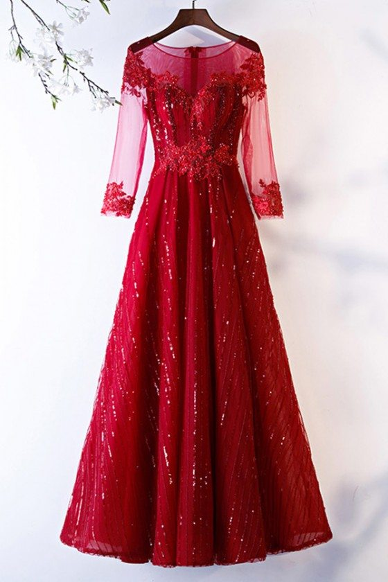 Special Long Sleeve Aline Burgundy Formal Dress With Sequins