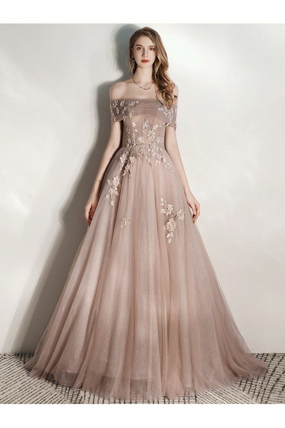 Beautiful Off Shoulder Champagne Long Tulle Formal Prom Dress With Embroidery